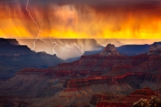 Lightning in the Grand Canyon at Sunset.